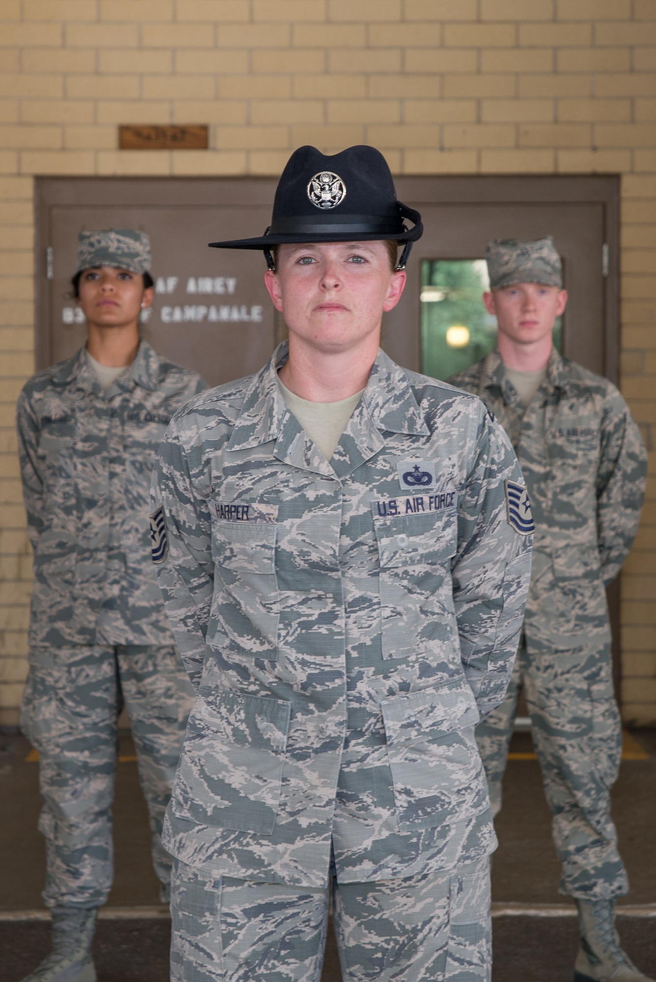 Tech. Sgt. Megan Harper, A 326th Training Squadron military training instructor facilitator, stands with Airmen's week Airmen at the 326th TRS, at Joint Base San Antonio-Lackland June 28, 2017. Harper has been selected as the Military Times' 2017 Airman of the Year for her exceptional service over the course of a 15-year Air Force career.