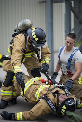 Air Force Firefighters participate in a 5 day training course hosted by Niagara Falls Air Reserve Station, N.Y., July 12, 2017. Participants come from McGuire-Dix-Lakehurst, Fairchild, Dover, MacDill, and Grissom as well as Niagara. The course offers hands-on training for emergency situations in preparation of real-world situations. (U.S. Air Force photo by Tech. Sgt. Stephanie Sawyer)