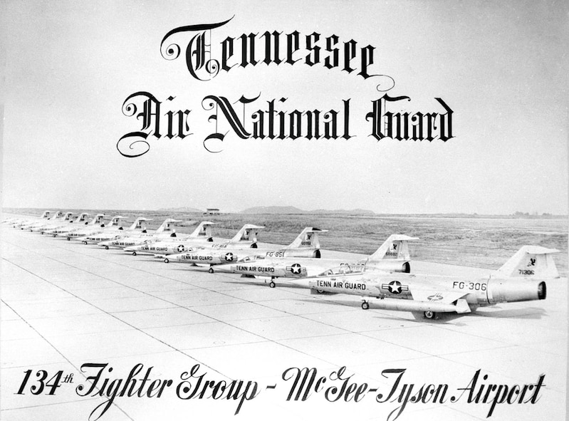 F104 Starfighter aircraft line the tarmac at McGhee Tyson ANG Base, Tenn.