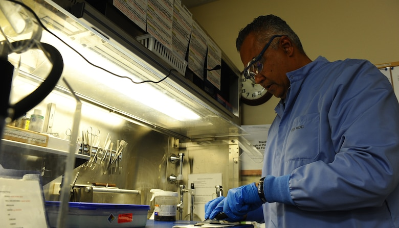 Ian Bernard, a histopathology technician at the 10th Medical Group, U.S. Air Force Academy, Colorado, was selected as a Trusted Care Hero by the Air Force Medical Care Service for his dedication to outstanding customer service. (U.S. Air Force photo/Tech. Sgt. Delos Reyes)