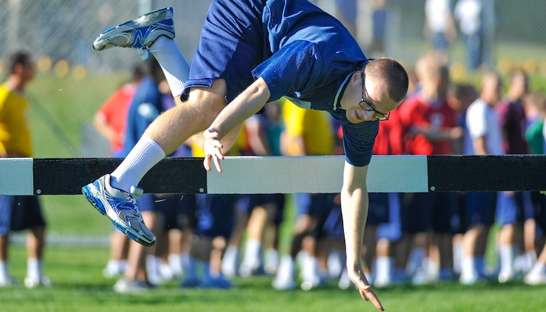Basic cadet trainees at the Air Force Academy will test their skill, stamina and physical condition July 14 at Field Day. (U.S. Air Force Academy Visual Information)