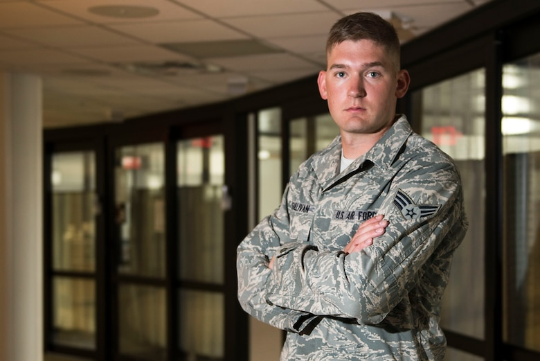 Senior Airman Joshua O'Sullivan, a respiratory therapist from the 88th Medical Group, Wright-Patterson Air Force Base, has been named to the 10th volume of the Air Force's Portraits in Courage, an annual program that highlights individual Airmen and teams for their honor, valor, devotion and selfless sacrifice in the face of extreme danger to themselves and others. (U.S. Air Force photo/Wesley Farnsworth)
