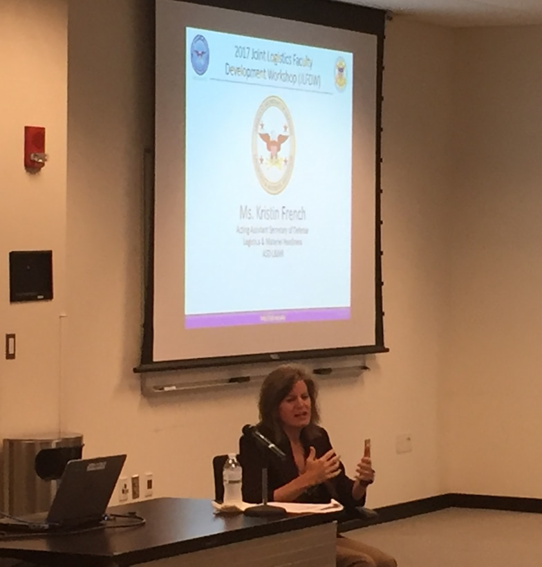 Ms. Kristin K. French, acting Assistant Secretary of Defense for Logistics & Materiel Readiness, highlights key DoD issues at the 2017 Joint Logistics Faculty Development Workshop.