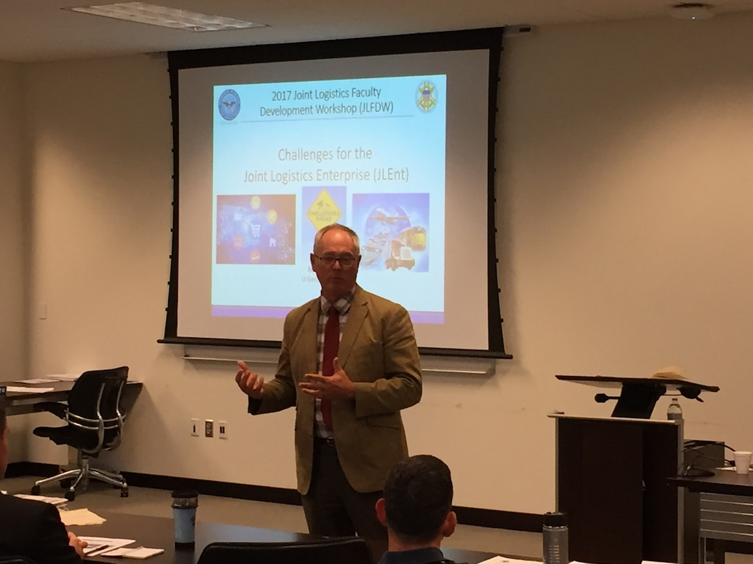Retired Air Force Lieutenant General Bob Allardice engaged the attendees on the challenges facing the Joint Logistics Enterprise during the 2017 Joint Logistics Faculty Development Workshop.