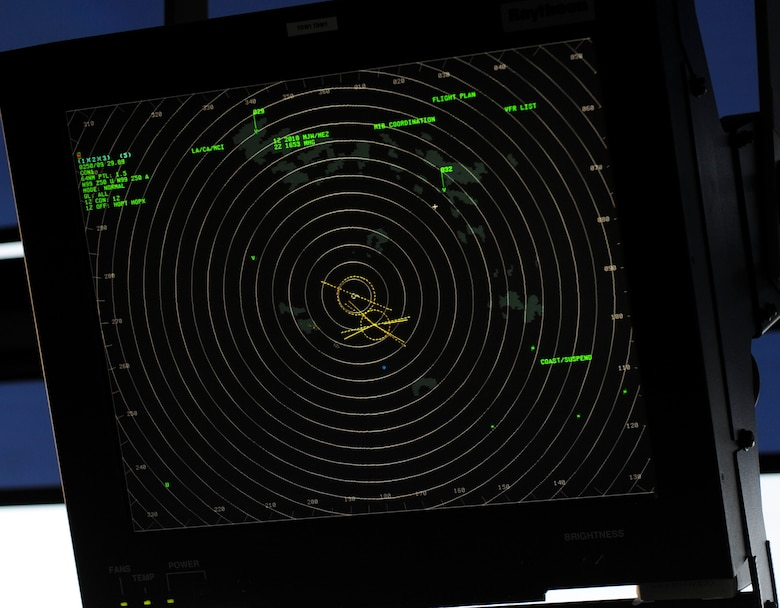 A tower display workstation hangs in the Air Traffic Control Tower at Minot Air Force Base, N.D, June 20, 2017. The radar shows the type, altitude and speed of aircraft, along with weather in the surrounding area up to 150 miles. (U.S. Air Force photo by Senior Airman Sahara L. Fales)