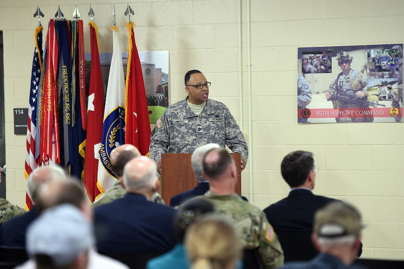 Sgt. First Class Reynaldo McKie, Senior Staff Movement NCO, 85th Support Command, speaks during a celebration at the 85th Support Command's 100th anniversary on June 9, 2017 in Arlington Heights, Illinois. The unit was first formed during World War I, and later participated in campaigns during World War II. The 85th Infantry Division, at the time, lost more than 7,000 casualties and had four Medal of Honor recipients. Their names are currently etched onto the unit's command coin today. (U.S. Army photo by Sgt. Aaron Berogan/Released)