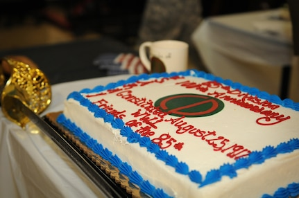 A celebratory cake for the centennial anniversary of the 85th Support Command sits with a saber waiting to be cut on June 9, 2017 at Arlington Heights, Illinois. The unit is noted by many to have a very storied past dating back to World War I when it was first formed as the 85th Infantry Division at Camp Custer, Michigan. The unit celebrated its 100th anniversary in conjunction with the relinquishment of command for Brig. Gen. Frederick R. Maiocco Jr., Commanding General, 85th Support Command. Maiocco served three years as the commander of the 85th Support Command. (U.S. Army photo by Spc. Nicole Nicolas/Released)