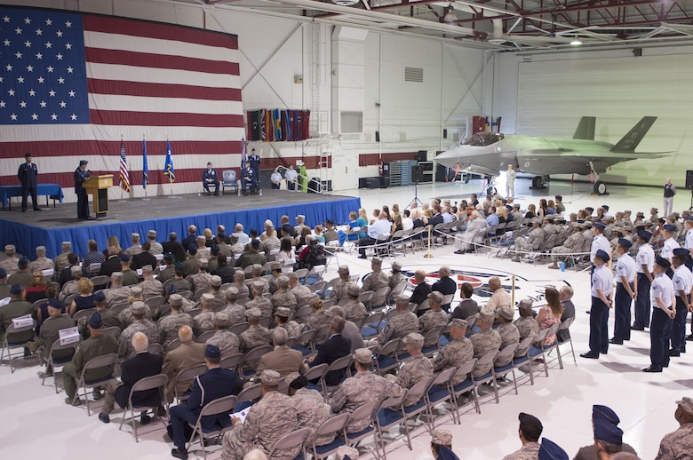 Airmen assigned to various units across Nellis Air Force Base, Nev., attend a U.S. Air Force Warfare Center change of command ceremony July 13, 2017. During the ceremony, USAFWC command was transferred from Maj. Gen. Glen VanHerck to Maj. Gen. Peter Gersten. (U.S. Air Force photo by Senior Airman Joshua Kleinholz)