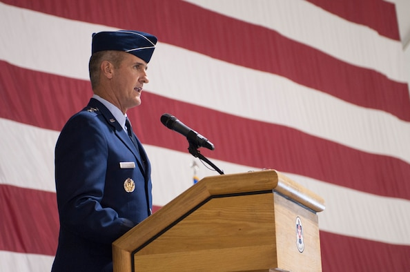 Maj. Gen. Peter Gersten addresses ceremony attendees shortly after taking command of the U.S. Air Force Warfare Center July 13, 2017 at Nellis Air Force Base, Nev. Gersten is a command pilot with more than 2,800 total flying hours in a variety of air frames; 400 of which were flown in combat over Iraq, Syria, Afghanistan and Bosnia. (U.S. Air Force photo by Senior Airman Joshua Kleinholz)