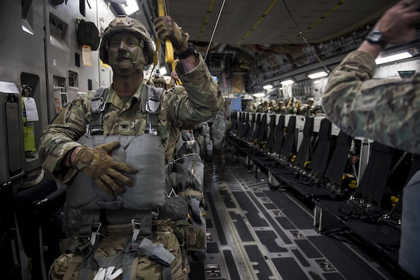 U.S. Army Col. Jeffrey Crapo, ground forces commander, 4th Brigade, 25th Infantry division waits to jump from a U.S. Air Force C-17 Globemaster III July 12, 2017 to airdrop in support of Exercise Talisman Saber 2017. The purpose of TS17 is to improve U.S.-Australian combat readiness, increase interoperability, maximize combined training opportunities and conduct maritime prepositioning and logistics operations in the Pacific. TS17 also demonstrates U.S. commitment to its key ally and the overarching security framework in the Indo Asian Pacific region.