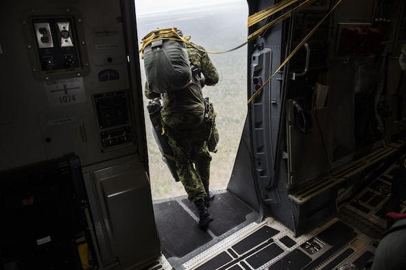 A Canadian paratrooper from Princess Patricia's Light Canadian Infantry jumps out of the open troop door on a U.S. Air Force C-17 Globemaster III from Joint Base Charleston, S.C., July 12, 2017 in support of Exercise Talisman Saber 2017. The purpose of TS17 is to improve U.S.-Australian combat readiness, increase interoperability, maximize combined training opportunities and conduct maritime prepositioning and logistics operations in the Pacific. TS17 also demonstrates U.S. commitment to its key ally and the overarching security framework in the Indo Asian Pacific region. (U.S. Air Force photo/Tech. Sgt. Gregory Brook)