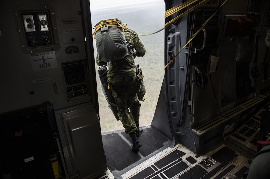 A Canadian paratrooper from Princess Patricia's Light Canadian Infantry jumps out of the open troop door on a U.S. Air Force C-17 Globemaster III from Joint Base Charleston, S.C., July 12, 2017 in support of Exercise Talisman Saber 2017. The purpose of TS17 is to improve U.S.-Australian combat readiness, increase interoperability, maximize combined training opportunities and conduct maritime prepositioning and logistics operations in the Pacific. TS17 also demonstrates U.S. commitment to its key ally and the overarching security framework in the Indo Asian Pacific region.