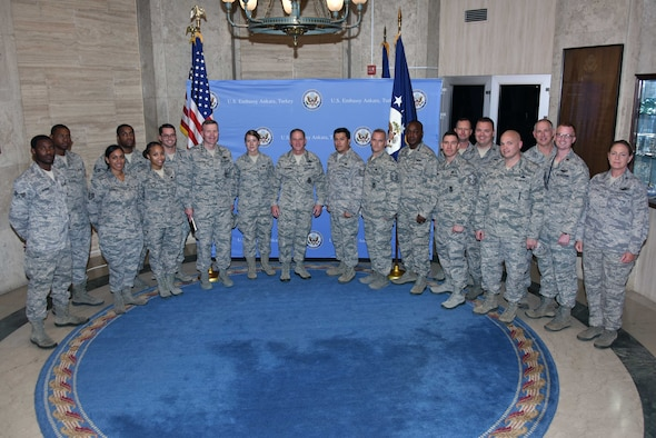 U.S. Air Force Chief of Staff Gen. David L. Goldfein (center), gathers with a group of Airmen from the 717th Air Base Squadron July 11, 2017, during an official visit to Ankara, Turkey. Airmen of the 717th ABS provide support to the U.S. Embassy and the Ankara military community including the Office of Defense Cooperation-Turkey and NATO Center of Excellence-Defense against Terrorism. (U.S. Air Force courtesy photo)