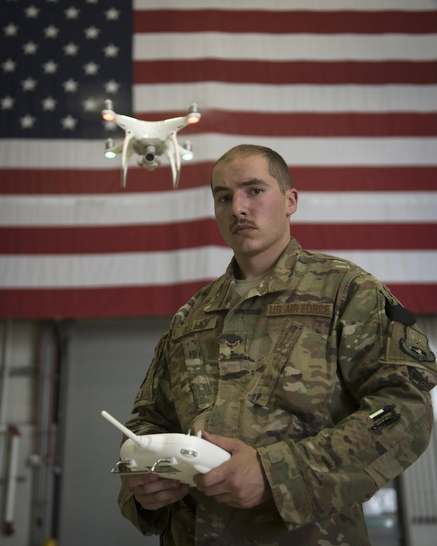Airman 1st Class Elijah Allen is a defender with the 455th Expeditionary Security Forces Squadron. To counter the challenges that unmanned aircraft systems pose on the battlefield, the team is training to pilot and use the drones, so enemy tactics can be replicated and used to train coalition forces on how to react to them. Allen is deployed out of Joint Base Charleston, South Carolina, and is a native of Hortonville, Wisconsin. (U.S. Air Force photo by Staff Sgt. Benjamin Gonsier)