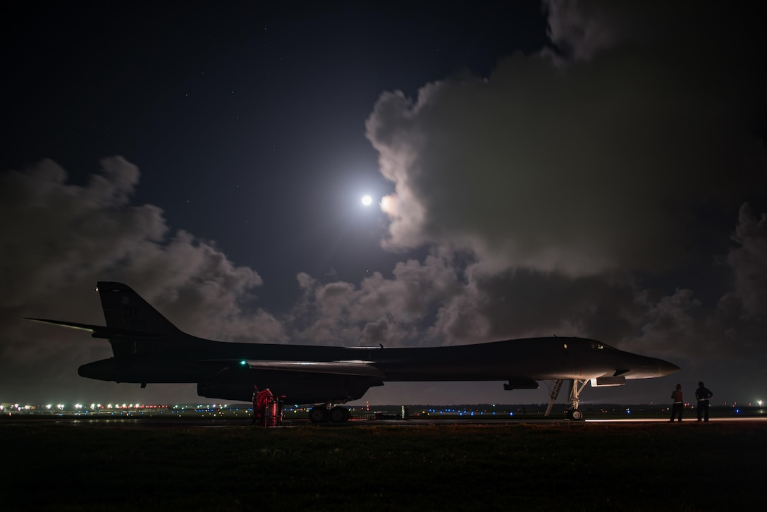 A B-1B Lancer assigned to the 9th Expeditionary Bomb Squadron, deployed from Dyess Air Force Base, Texas, prepares for takeoff from Andersen AFB, Guam, to conduct a sequenced bilateral mission with South Korean F-15 and Koku Jieitai (Japan Air Self-Defense Force) F-2 fighter jets, July 7, 2017. The mission is in response to a series of increasingly escalatory action by North Korea, including a launch of an intercontinental ballistic missile July 3. (U.S. Air Force photo/Airman 1st Class Jacob Skovo)