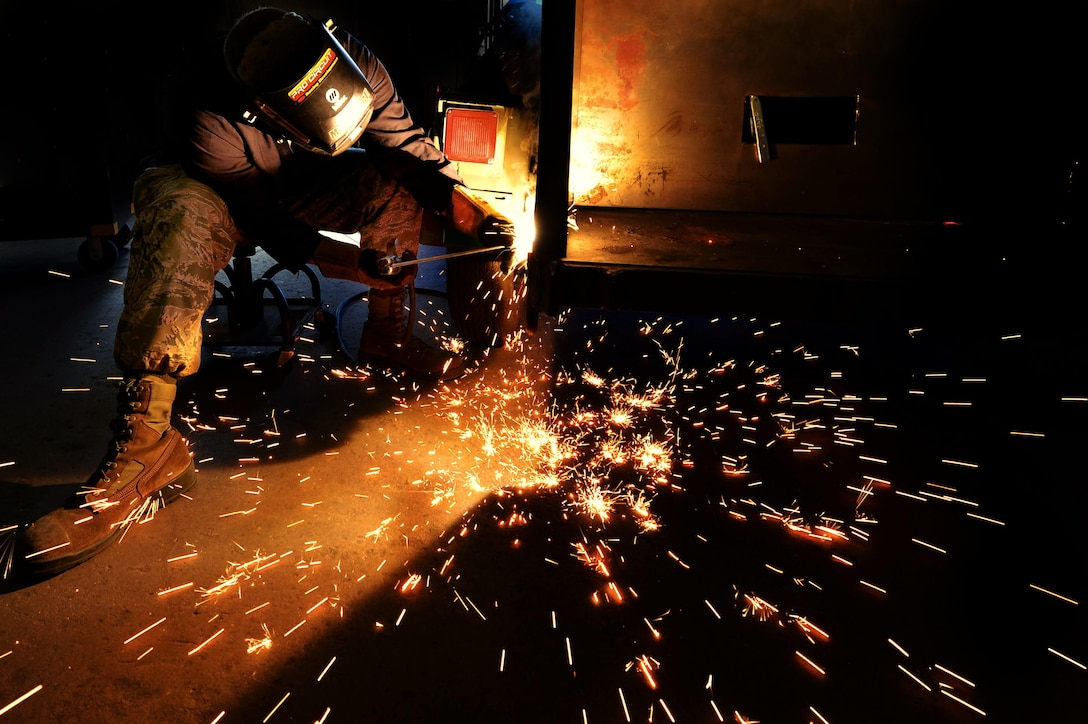 Staff Sgt. Patrick Peck, a 20th Equipment Maintenance Squadron aircraft metals technology journeyman, welds a portable deployment trailer at Shaw Air Force Base, S.C., July 7, 2017. Airmen assigned to the 20th EMS metals technology lab ensure equipment entering the lab meets all safety and structure specifications prior to the parts being returned to the providing unit. (U.S. Air Force photo/Senior Airman Christopher Maldonado)