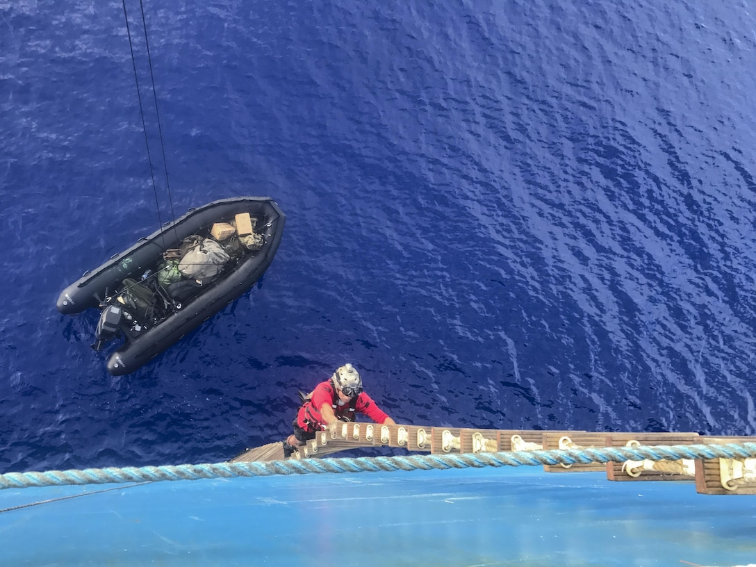 Guardian Angel Airmen from the 920th Rescue Wing were part of a concerted rescue effort that rescued two German citizens in distress at sea July 7-8, 2017. The victim's vessel caught fire approximately 500 nautical miles off the east coast of southern Florida. At the request of the Coast Guard's Seventh District in Miami, the 920th RQW was alerted by the Air Force Rescue Coordination Center at Tyndall Air Force Base, Fla., to assist in the long-range search and rescue. Approximately 80 Airmen and four wing aircraft helped execute the rescue mission including maintenance, operations and support personnel. (U.S. Air Force photo/Maj. Cathleen Snow)