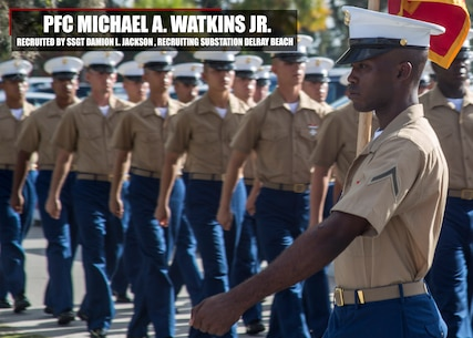 Private First Class Mivhael A. Watkins Jr. graduated Marine Corps recruit training July 14, 2017, aboard Marine Corps Recruit Depot Parris Island, South Carolina. Watkins is the Honor Graduate of platoon 2050. Watkins was recruited by Staff Sgt. Damion L. Jackson from Recruiting Substation Delray Beach. (U.S. Marine Corps photo by Lance Cpl. Jack A. E. Rigsby/Released)