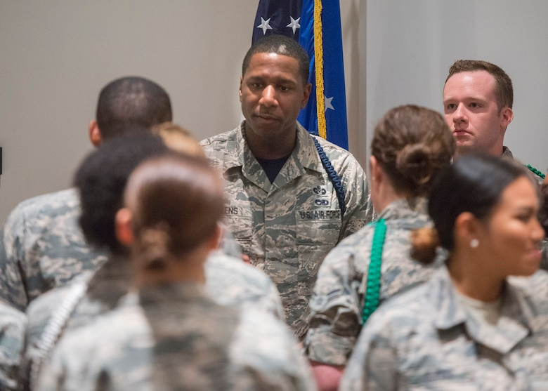 Master Sgt. Michael J. Stevens, United States Air Force School of Aerospace Medicine Military Training Flight chief, talks with a group of students on Wright-Patterson Air Force Base, Ohio, July 7, 2017. Stevens, was named as one of the Air Force's 12 Outstanding Airmen of the Year. (U.S. Air Force photo by R.J. Oriez)
