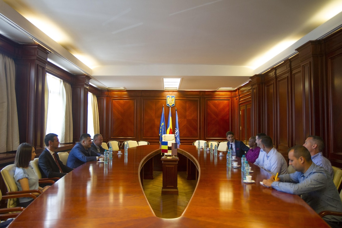 Soldiers from Alpha Company, 443rd Civil Affairs Battalion (CA BN), meet with the newly appointed Prefect of Constanța County, Ioan Albu, during a civil affairs engagement in Constanța, Romania, July 14, 2017. 443rd CA BN is working under 361st Civil Affairs Brigade who oversees the largest participation of civil affairs units to date during exercise Saber Guardian, July 11-22, 2017 (U.S. Army photo by Capt. Jeku Arce, 221st Public Affairs Detachment).