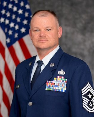 Chief Master Sgt. David B. Dickson, 507th Air Refueling Wing command chief, sits for an official photo July 13, 2017, Tinker Air Force Base, Okla. (U.S. Air Force photo/Tech. Sgt. Lauren Gleason)