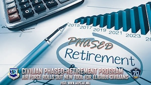 """Eligible Air Force civilian employees now have the option of working part-time in a """"semi-retired"""" status with the new civilian phased-retirement program.  (U.S. Air Force courtesy graphic)"""