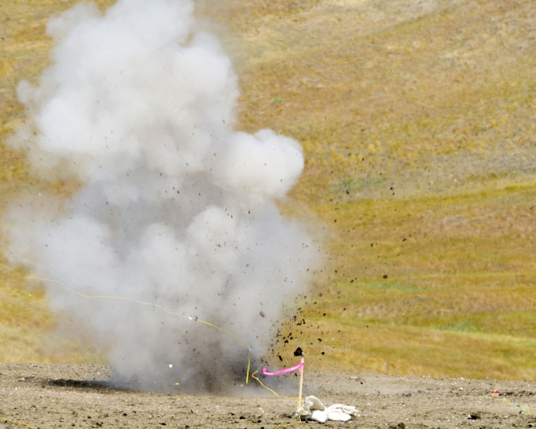 A homemade explosive detonates during a National Improvised Explosive Familiarization course at Ellsworth Air Force Base, S.D., July 12, 2017. The three-day, FBI-led, joint exercise taught 28th Civil Engineer Squadron Explosive Ordinance Disposal Airmen, along with other law enforcement agencies, how to create and recognize Homemade Explosives. (U.S. Air Force photo by Airman 1st Class Randahl J. Jenson)
