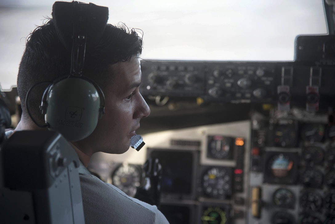 U.S. Air Force Senior Airman Jose Gonzalez, a crew chief assigned to the 6th Aircraft Maintenance Squadron, practices starting the engines for a KC-135 Stratotanker aircraft as the final task for the KC-135R/T Flightline F108 Engine Operator course at MacDill Air Force Base, Fla., July 14, 2017. During the four-day course, maintainers are trained on operational and emergency procedures for the F108 engines on the KC-135. (U.S. Air Force photo by Airman 1st Class Ashley Perdue)