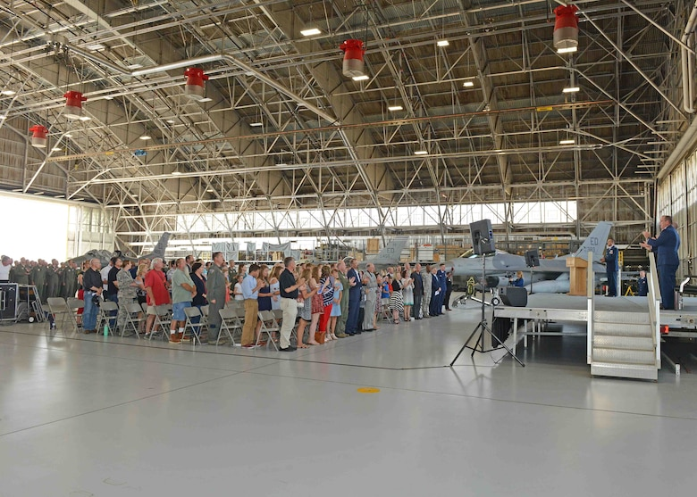 The change of command ceremony for the U.S. Air Force Test Pilot School was held in Hangar 1207 July 14. (U.S. Air Force photo by Kenji Thuloweit)