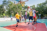 Nimitz Carrier Strike Group Sailors play basketball against students from the YMCA College of Physical Education in Chennai, India while participating in a community relations project during Malabar 2017. Malabar 2017 is the latest in a continuing series of exercises between the Indian Navy, Japan Maritime Self Defense Force and U.S. Navy that has grown in scope and complexity over the years to address the variety of shared threats to maritime security in the Indo-Asia-Pacific region.