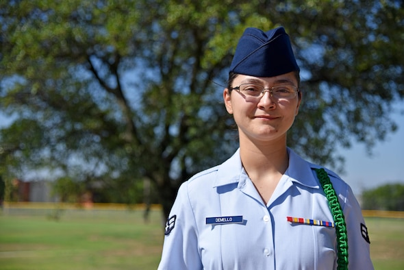 U.S. Air Force Airman 1st Class Taylor DeMello, 315th Training Squadron student, stands for a portrait outside the base theater on Goodfellow Air Force Base, Texas, July 7, 2017. DeMello is the Goodfellow Student of the Month spotlight for June 2017, a series highlighting Goodfellow students. (U.S. Air Force photo by Staff Sgt. Joshua Edwards/Released)