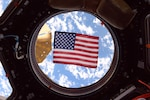 US flag seen in the ISS