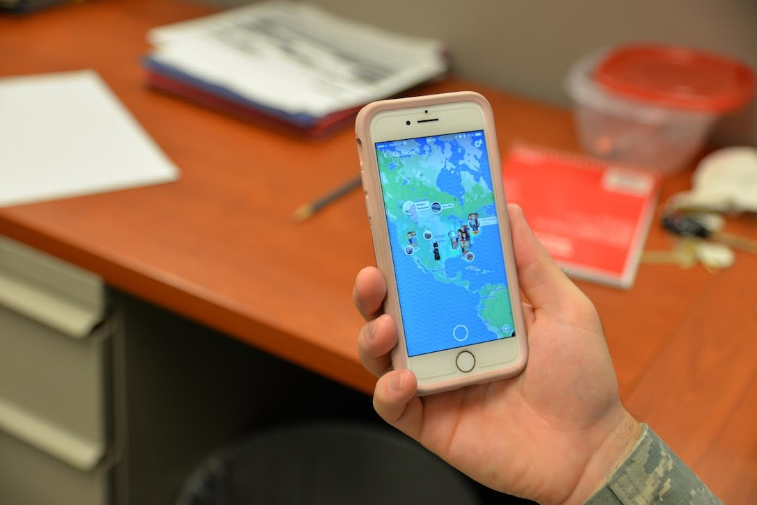 "Snapchat introduced a new feature that allows users to track other users on a map. The map can be used to view their stories and see their location in real time. If a user does not want to be seen, they can activate ""Ghost Mode"" and be removed from the map. (U.S. Air Force photo by 2nd Lt. Savannah Stephens)"