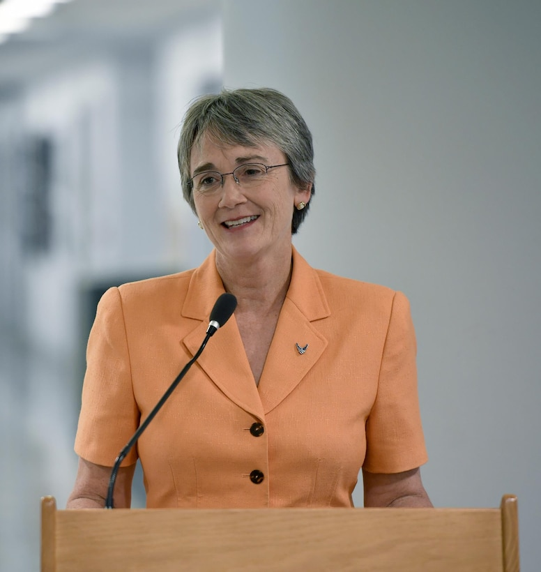 Secretary of the Air Force Heather Wilson speaks during the 2016 Presidential Rank Award ceremony held at the Pentagon, Washington D.C., July 14, 2017. The award is limited each year to only 1 percent of the Air Force's senior executives and only 5 percent of Senior Executive Service employees may receive the Presidential Meritorious Rank Award. (U.S. Air Force photo/Wayne A. Clark)