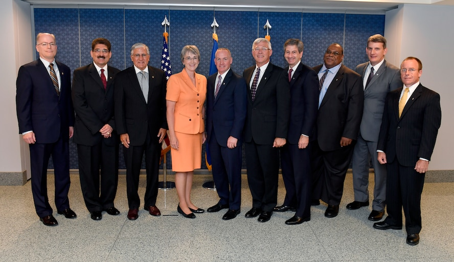 Secretary of the Air Force Heather Wilson (center) stands with the 2016 Presidential Rank Award recipients after a ceremony held at the Pentagon, Washington D.C., July 14, 2017. The award is limited each year to only 1 percent of the Air Force's senior executives and only 5 percent of Senior Executive Service employees may receive the Presidential Meritorious Rank Award. (U.S. Air Force photo/Wayne A. Clark)