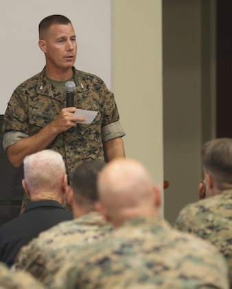 U.S. Marine Corps Col. Jeff Holt, Commanding Officer, School of Infantry West, speaks to guests at the room dedication ceremony for Medal of Honor recipient Col. Robert J. Modrzejewski at the Advanced Infantry Training Battalion, SOI-W, Camp Pendleton, July 14, 2017. 