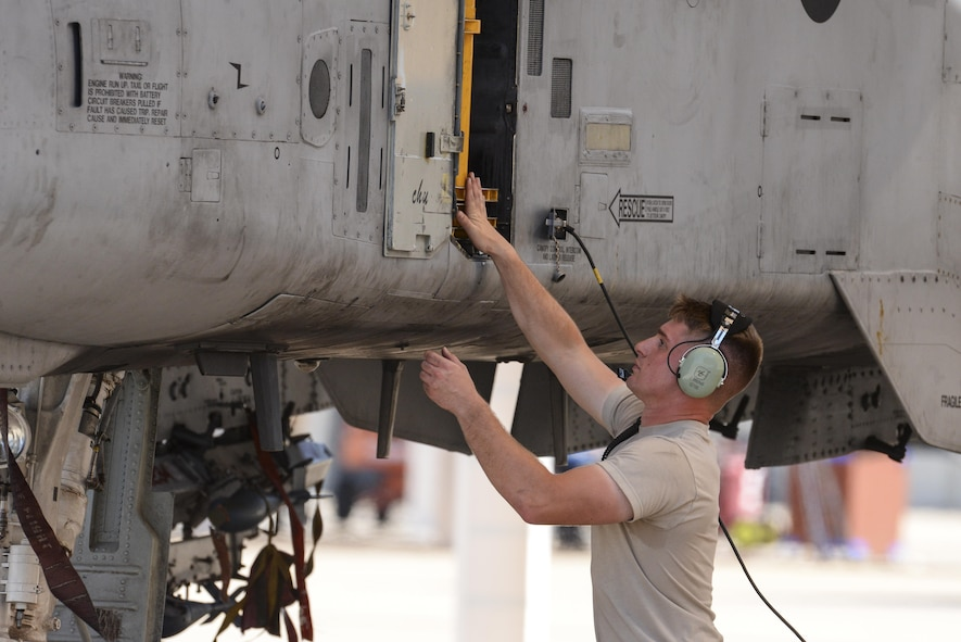 U.S. Air Force Airman 1st Class Jake Mitchell, 355th Aircraft Maintenance Squadron A-10C Thunderbolt II crew chief, prepares an A-10 for launch at Davis-Monthan Air Force Base, Ariz., July 14, 2017. The primary function of the A-10 is close air support, airborne forward air control and combat search and rescue. (U.S. Air Force photo by Senior Airman Mya M. Crosby)