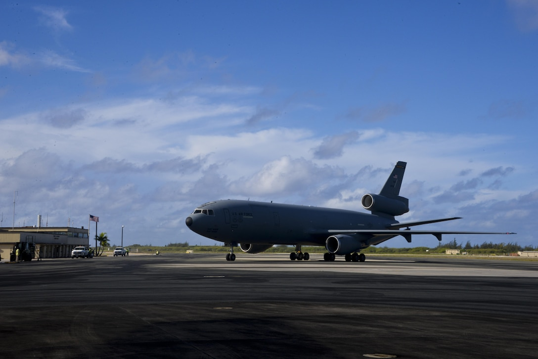 A KC-10 Extender taxis on the runway at Wake Island June 12, 2017. KC-10s from Travis Air Force Base, Calif., and Joint Base McGuire-Dix-Lakehurst, New Jersey, supported Exercise Talisman Saber 2017 by executing Exercise Ultimate Reach, a strategic refueling and airdrop mission in which three KC-10s refueled five C-17 Globemaster IIIs carrying U.S. Army, Australian and Canadian paratroopers prior to an airdrop. TS 17 is a biennial exercise in Australia that focuses on bilateral military training between U.S. Pacific Command forces and the Australian Defence Force to improve U.S.-Australia combat readiness, increase interoperability, maximize combined training opportunities and conduct maritime prepositioning and logistics operations in the Pacific. (U.S. Air Force photo by 2nd Lt. Sarah Johnson)
