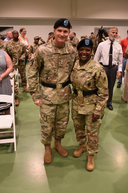 Brig. Gen. Donna Martin and Maj. Gen. Kent Savre, the commanding general of Maneuver Support Center Of Excellence, pose for a photo after Martin's assumption as the new Chief of the Military Police Corps Regiment and Commandant of the U.S. Army Military Police School at Fort Leonard Wood, Missouri, July 14, 2017. (U.S. Army Reserve photo by 2nd. Lt. Ubon Mendie)