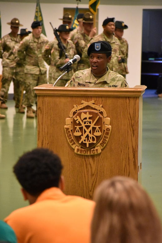 Brig. Gen Donna Martin speaks during  her change of commandant ceremony where she became Chief of the Military Police Corps Regiment and Commandant of the U.S. Army Military Police School Fort Leonard Wood, Missouri, July 14, 2017. (U.S. Army Reserve photo by 2nd. Lt. Ubon Mendie)