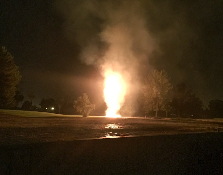 Flames engulf a palm tree after it was struck by lightning at the General William Blanchard Golf Course at Davis-Monthan Air Force Base, Ariz., July 15, 2017. The A Shift fire crew from Station 2 of Davis-Monthan AFB's Fire Emergency Services extinguished the fire within 10 minutes of arriving on scene. (Courtesy photo)