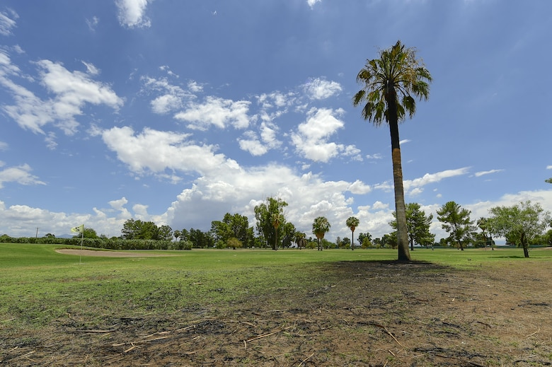 Scorch marks litter the earth around a palm tree after it was struck by lightning the night before at the General William Blanchard Golf Course at Davis-Monthan Air Force Base, Ariz., July 16, 2017. The lightning struck the tree adjacent to the green area on the golf course's first hole. (U.S. Air Force photo by Staff Sgt. Chris Drzazgowski)