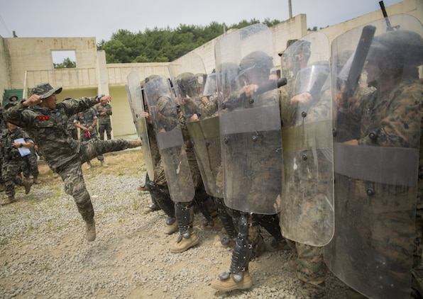 A Republic of Korea Marine attempts to break through a riot control line during riot control training, at Pohang, South Korea, June 22, 2017. ROK Marines simulated rioters by attempting to break through the riot control line as defenders subdued the aggressors. U.S. and ROK Marines practice their non-lethal force tactics during Korean Marine Exchange Program 17-7. KMEP 17-7 is just one of the many opportunities made possible for ROK and U.S. Marines to learn and train with one another. The U.S. Marines are military policemen with Bravo Company, 3rd Law Enforcement Battalion, III Marine Expeditionary Force. (U.S. Marine Corps photo by Lance Cpl. Andy Martinez)