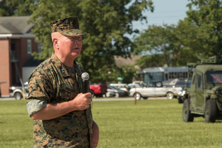 Maj. Gen. Walter L. Miller, Jr. gives a speech during II Marine Expeditionary Force's relief, appointment, and retirement ceremony at Camp Lejeune, N.C., July 14, 2017. During the ceremony, Miller relinquished his post as commanding general of II MEF to Lt. Gen. Robert F. Hedelund as the commanding general of II MEF.