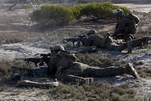 Marines with Combat Logistics Battalion 31 fire M249 Squad Automatic Weapons as part of small-arms and machine gun marksmanship training during Exercise Talisman Saber 17 on Townshend Island, Shoalwater Bay Training Area, Queensland, Australia, July 16, 2017. Marines with CLB-31 provide essential support to the Marines and Sailors of the 31st Marine Expeditionary Unit while supporting Talisman Saber 17. The 31st MEU is taking part in Talisman Saber 17 while deployed on a regularly-scheduled patrol of the Indo-Asia-Pacific region. Talisman Saber is a biennial exercise designed to improve the interoperability between Australian and U.S. forces.