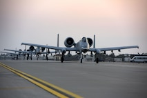 Three U.S. Air Force A-10 Thunderbolt IIs taxi along the flightline July 15, 2017, at Incirlik Air Base, Turkey. The A10s are deployed here from the 74th Fighter Squadron, Moody Air Force Base, Georgia, in support of Operation Inherent Resolve (U.S. Air Force photo by Airman 1st Class Kristan Campbell)
