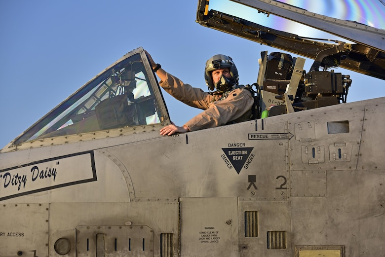 Lt. Col. Ben Rudolphi, 407th Expeditionary Operation Support Squadron commander, prepares to taxi to the flightline in an A-10 Thunderbolt II July 11, 2017, at Incirlik Air Base, Turkey. Rudolphi has provided a dual role in Operation INHERENT RESOLVE as the commander of the 407th EOSS in Southwest Asia and being directly in the fight against ISIS conducting A-10 flying missions with the 447th Air Expeditionary Group. The A-10 supports ground forces with rapid employment close air and contact support. It utilizes a variety of bomb, missiles and a 30mm GAU-8 seven-barrel Gatling gun.(U.S. Air Force photo by Senior Airman Ramon A. Adelan)