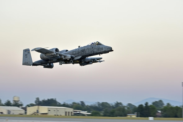 Lt. Col. Ben Rudolphi, the 407th Expeditionary Operation Support Squadron commander, takes off in an A-10 Thunderbolt II July 11, 2017, at Incirlik Air Base, Turkey. Rudolphi has provided a dual role in Operation Inherent Resolve as the commander of the 407th EOSS in Southwest Asia and being directly in the fight against the Islamic State of Iraq and Syria conducting A-10 flying missions with the 447th Air Expeditionary Group. The A-10 supports ground forces with rapid employment close air and contact support. It utilizes a variety of bombs, missiles and a 30mm GAU-8 seven-barrel Gatling gun. (U.S. Air Force photo/ Senior Airman Ramon A. Adelan)