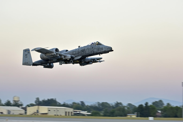 Lt. Col. Ben Rudolphi, 407th Expeditionary Operation Support Squadron commander, takesoff in an A-10 Thunderbolt II July 11, 2017, at Incirlik Air Base, Turkey. Rudolphi has provided a dual role in Operation INHERENT RESOLVE as the commander of the 407th EOSS in Southwest Asia and being directly in the fight against ISIS conducting A-10 flying missions with the 447th Air Expeditionary Group.The A-10 supports ground forces with rapid employment close air and contact support. It utilizes a variety of bomb, missiles and a 30mm GAU-8 seven-barrel Gatling gun.(U.S. Air Force photo by Senior Airman Ramon A. Adelan)