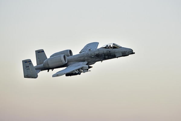 Lt. Col. Ben Rudolphi, 407th Expeditionary Operation Support Squadron commander, takesoff in an A-10 Thunderbolt II July 11, 2017, at Incirlik Air Base, Turkey. Rudolphi has provided a dual role in Operation INHERENT RESOLVE as the commander of the 407th EOSS in Southwest Asia and being directly in the fight against ISIS conducting A-10 flying missions with the 447th Air Expeditionary Group.The A-10 supports ground forces with rapid employment close air and contact support. It utilizes a variety of bomb, missiles and a 30mm GAU-8 seven-barrel Gatling gun. (U.S. Air Force photo by Senior Airman Ramon A. Adelan)